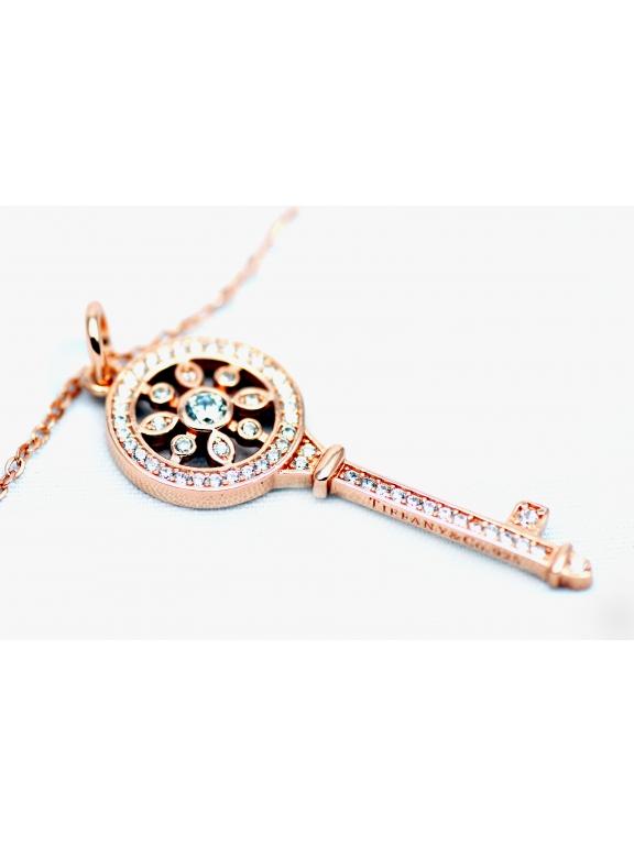 Подвеска серебряная Tiffany маленький золотой ключ камни swarowski
