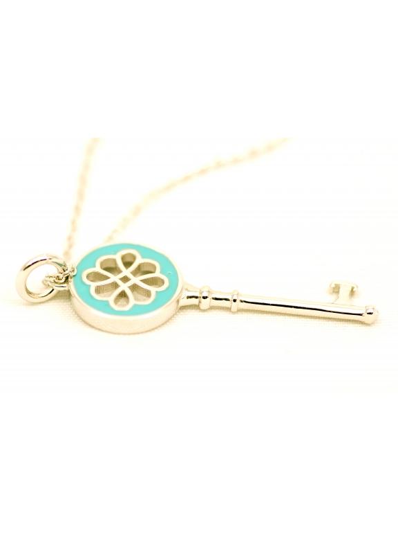 Подвеска серебряная Tiffany маленький белый ключ эмаль