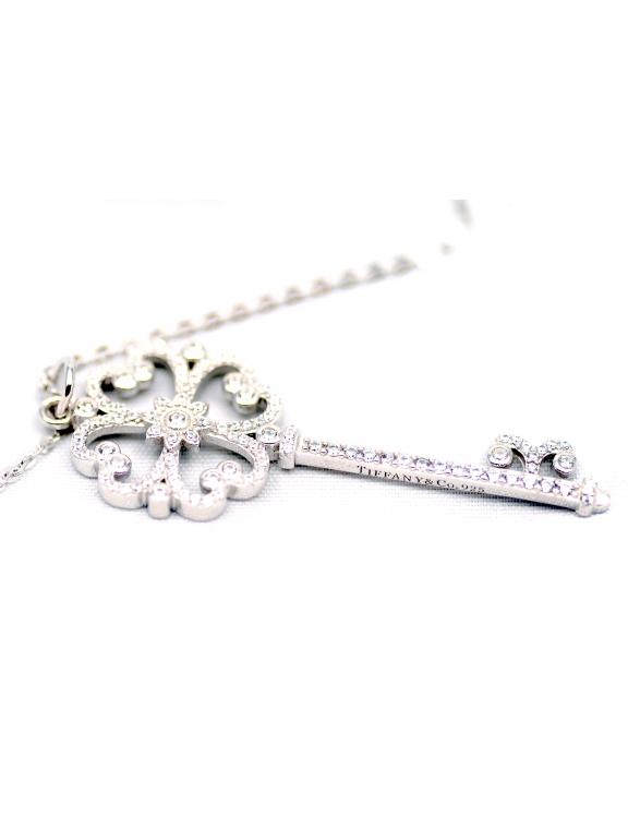 Подвеска серебряная Tiffany большой белый ключ сердечки камни swarowski