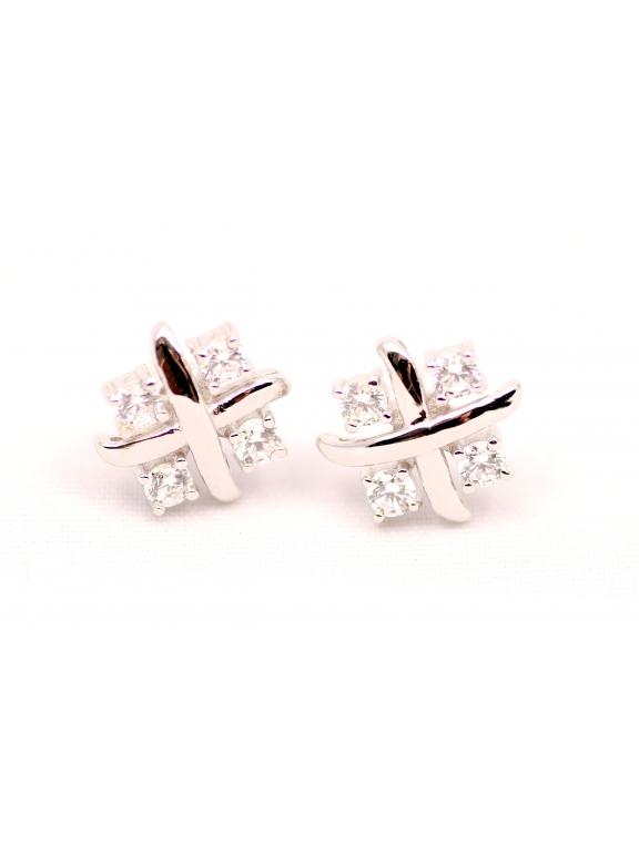 Серьги серебряные Tiffany елочка камни белые swarowski