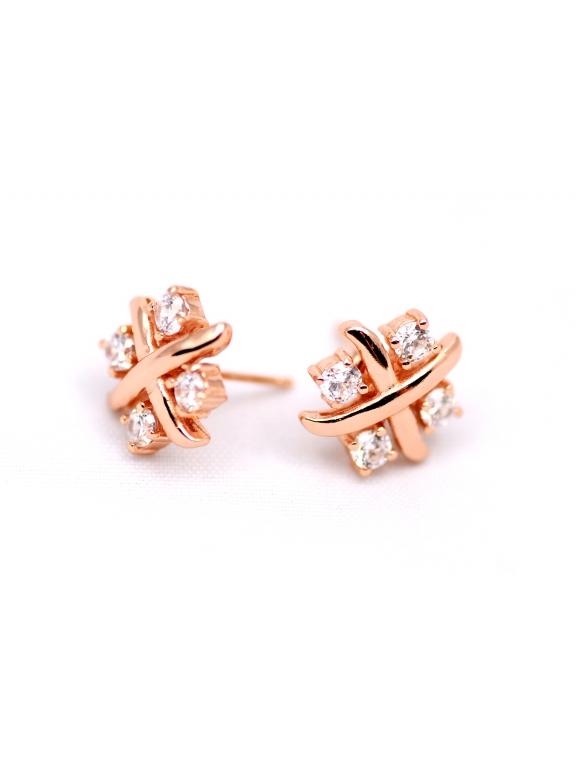 Серьги серебрянные Tiffany елочка камни золотые swarowski