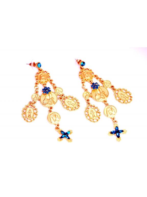 Серьги Dolce & Gabbana монетки бирюзовые крестики