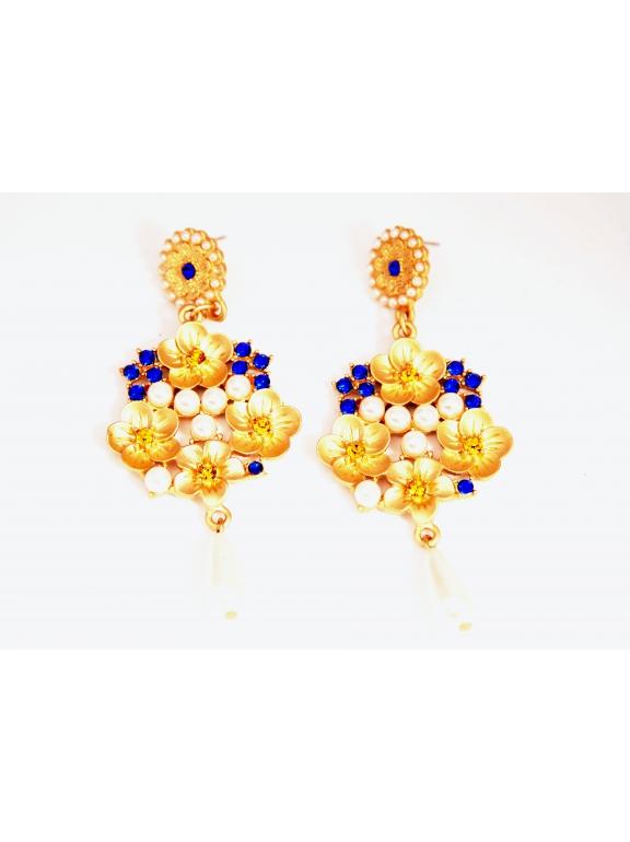 Серьги Dolce & Gabbana цветочки жемчужинки синие камни