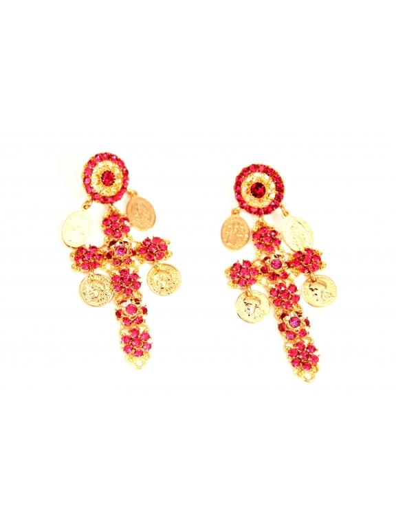 Серьги Dolce & Gabbana кресты рубиновые камни монетки