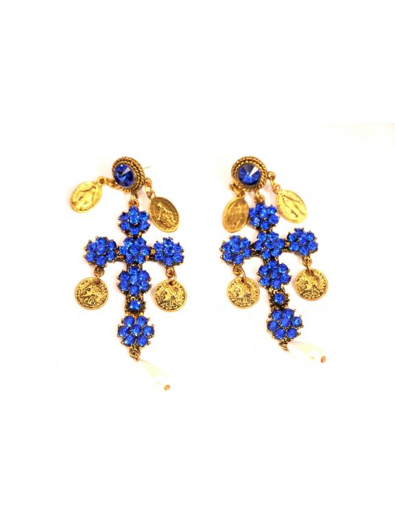 Серьги Dolce & Gabbana кресты синие камни жемчужинки