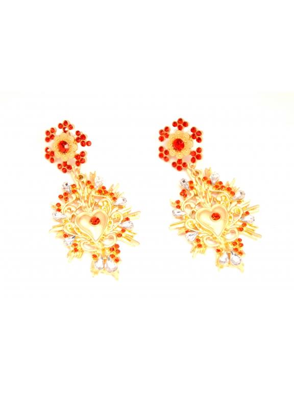 Серьги Dolce & Gabbana сердечки красные камни