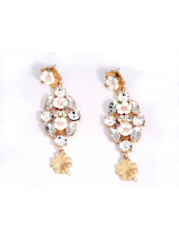 Серьги Dolce & Gabbana белые цветочки клевер