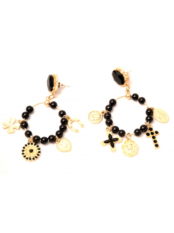 Серьги Dolce & Gabbana круг - подкова клевер крестик