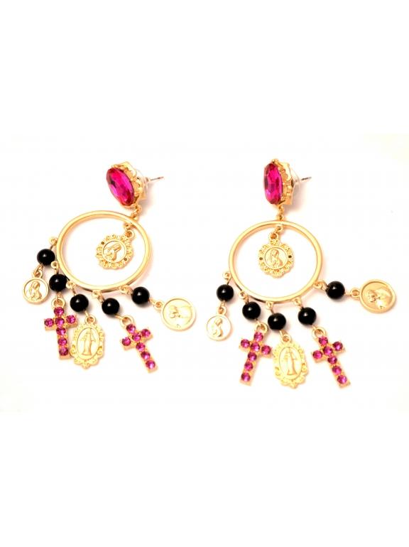 Серьги Dolce & Gabbana крестики мадонна черно - розовые камни
