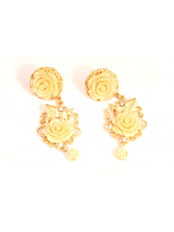 Серьги Dolce & Gabbana розовые розочки