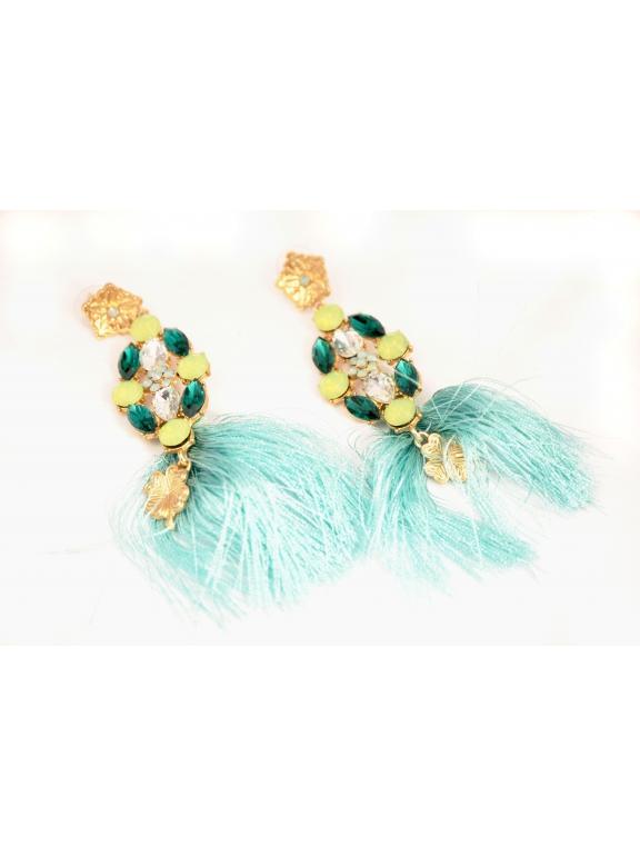 Серьги Dolce & Gabbana зелено - бирюзовые камни ткань