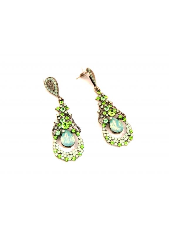 Серьги Dolce & Gabbana овалы бирюзово - салатовые камни