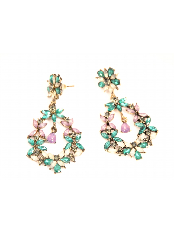 Серьги Dolce & Gabbana фиолетово - зеленые цветы