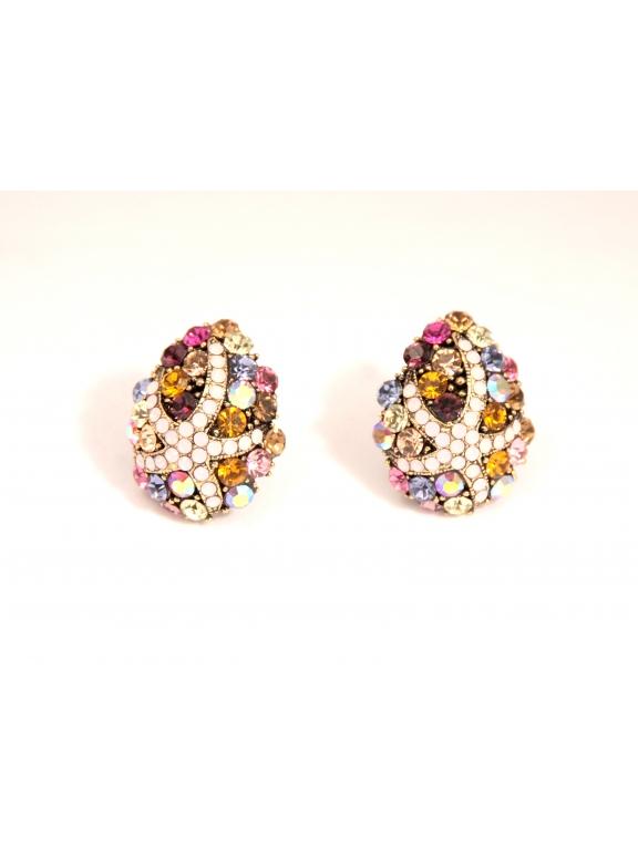 Серьги Dolce & Gabbana клипсы разноцветные камни звезда