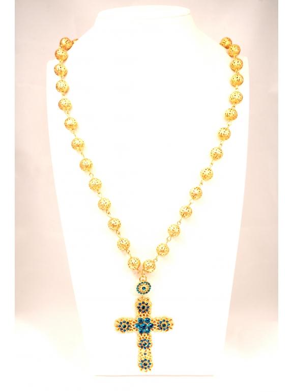 Подвеска Dolce & Gabbana крест бирюзовые камни