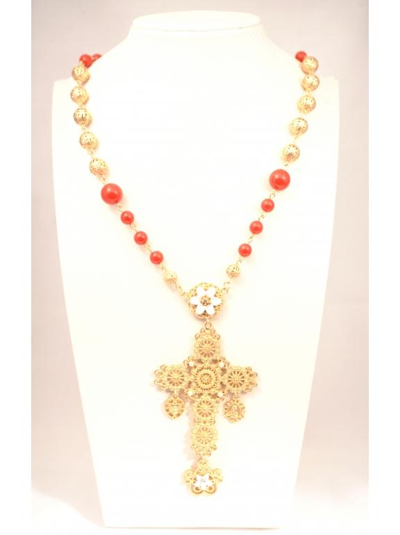 Подвеска Dolce & Gabbana большой золотой крест красные шарики