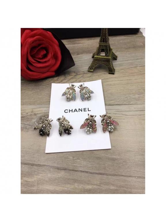 Розовые Серьги Chanel пчелки розовые