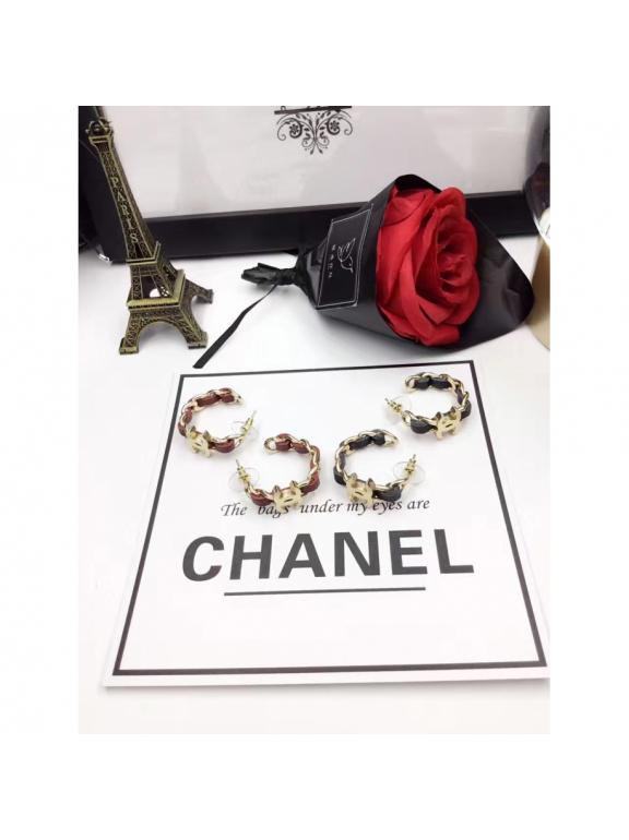 Черные Серьги Chanel кольца кожа черный