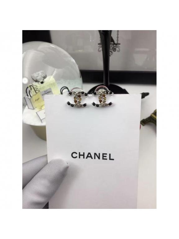 Черные Серьги Chanel черные разноцветные камни