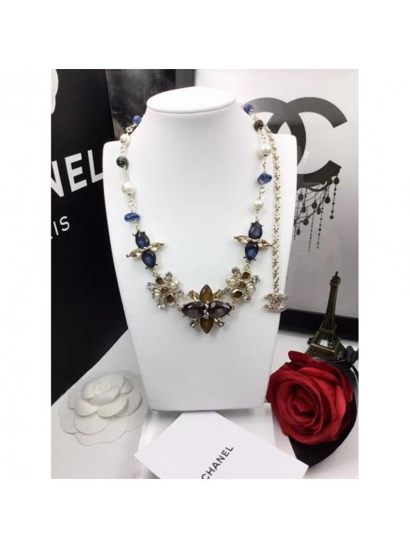 Золотое Колье Chanel короткое синие камни