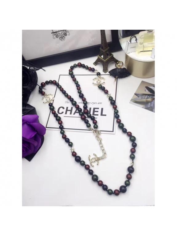 Разноцветное Колье Chanel звезды зелено - бордово - черные