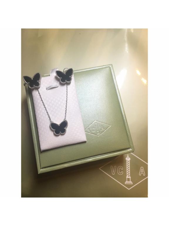 Черные Серьги Van Cleef & Arpels в белом ( бабочка )