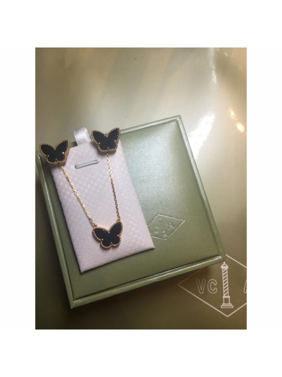 Черные Серьги Van Cleef & Arpels в золоте ( бабочка )