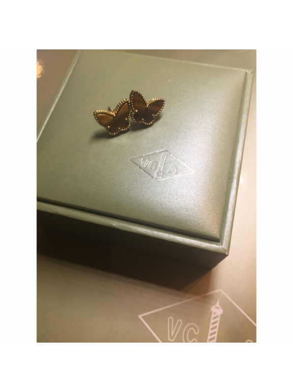 Коричневые Серьги Van Cleef & Arpels в золоте ( бабочка )