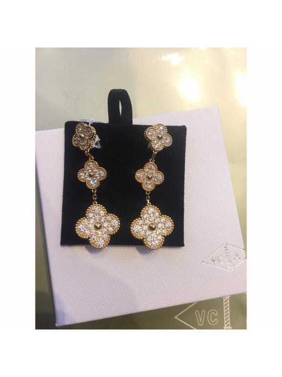 Тройные Белые Камни Серьги Van Cleef & Arpels в золоте