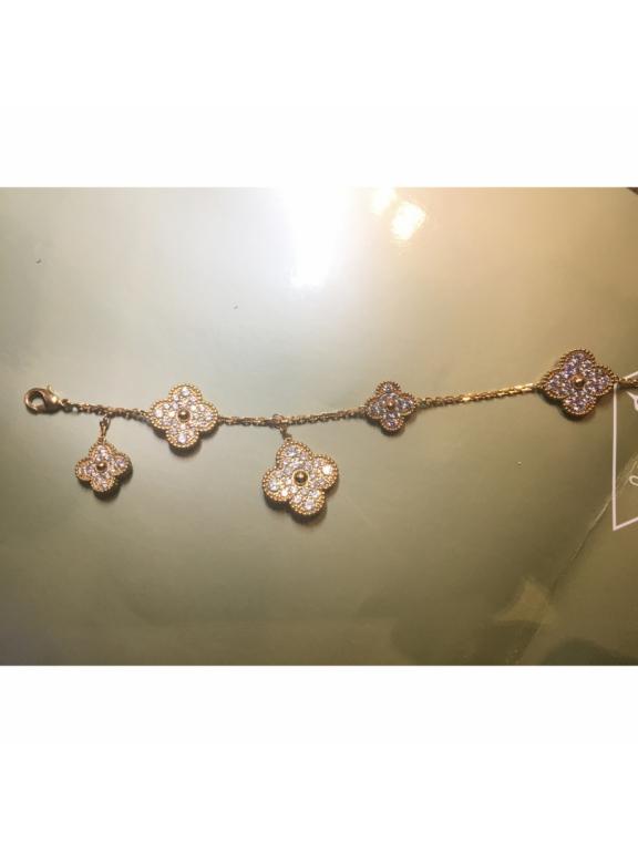 Золотой Браслет Van Cleef & Arpels камни пять больших цветочков в золоте
