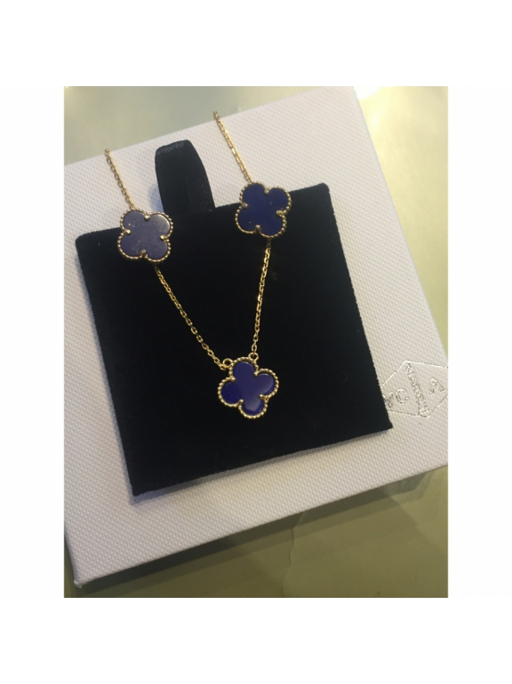 Синяя Подвеска Van Cleef & Arpels один цветочек в золоте