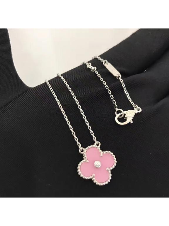 Розовая Подвеска Van Cleef & Arpels один розовый цветочек камушек в белом