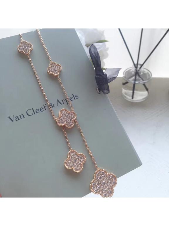 Золотое Колье Van Cleef & Arpels камни в белом 6 цветочков