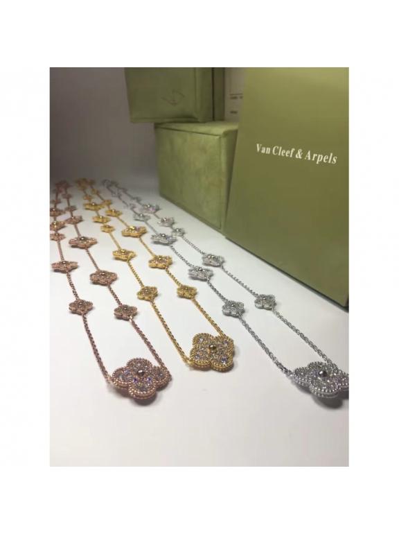 Золотое Колье Van Cleef & Arpels 20 цветочков камни в золоте