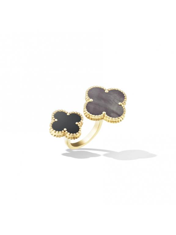 Золотое Двойное Кольцо черно - перламутровые цветочки в золоте