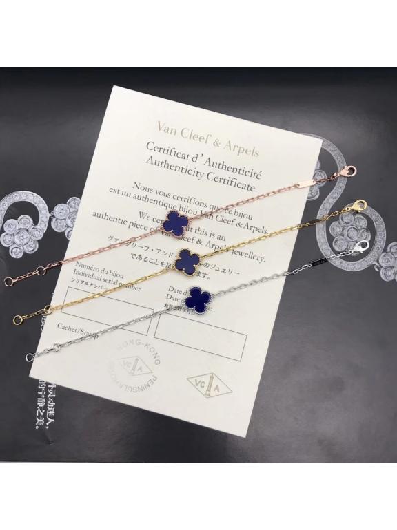 Синий Браслет Van Cleef & Arpels один цветочек в золоте