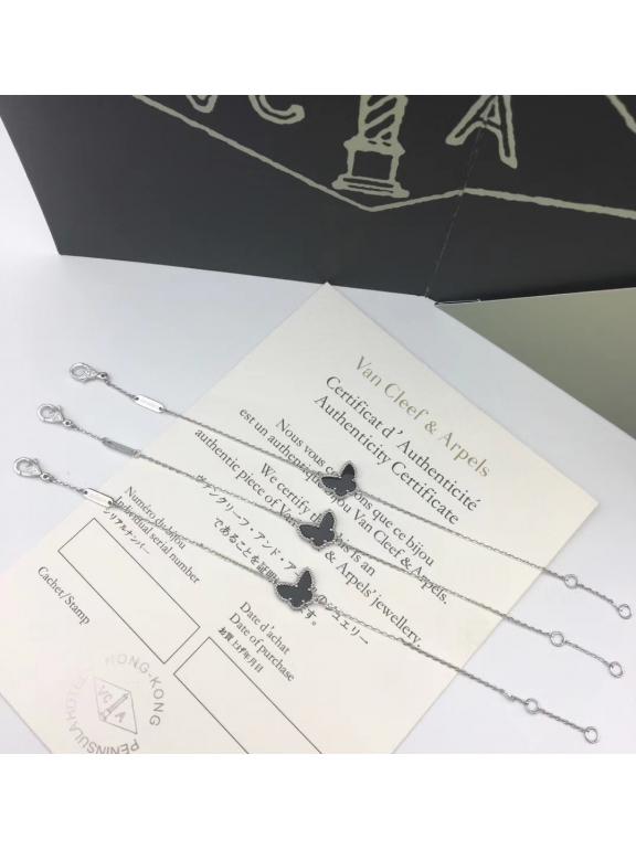 Черный Браслет Van Cleef & Arpels одна черная бабочка в белом