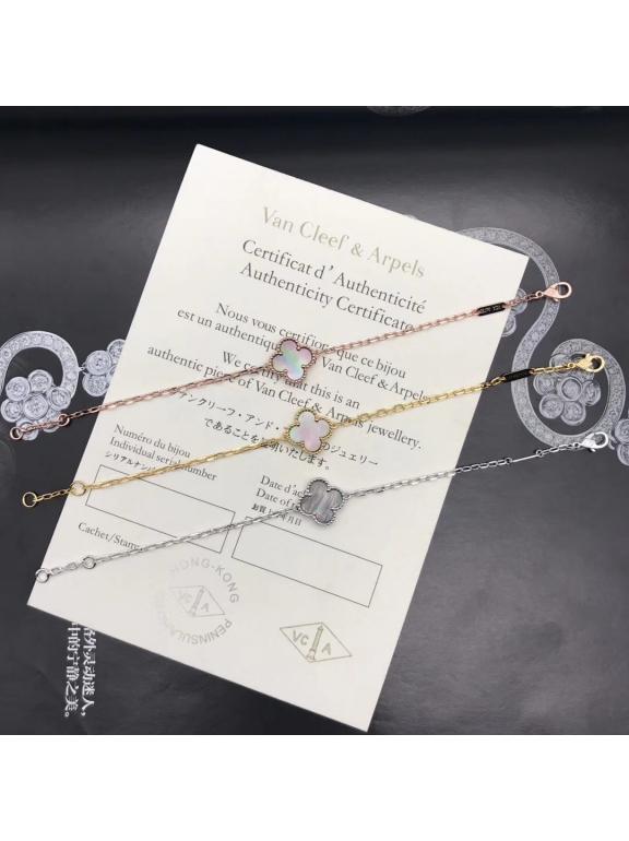 Серый Перламутр Браслет Van Cleef & Arpels один цветочек в золоте