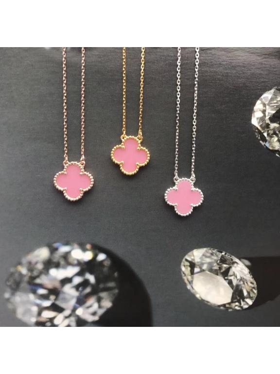 Розовая Подвеска Van Cleef & Arpels один цветочек в белом