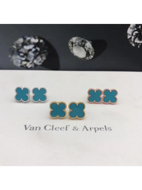 Бирюзовые Серьги Van Cleef & Arpels в белом