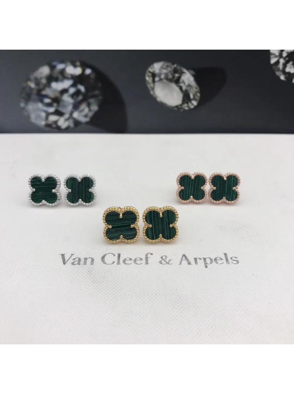 Зеленые Серьги Van Cleef & Arpels в золоте