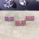 Розовые Серьги Van Cleef & Arpels камушек в белом