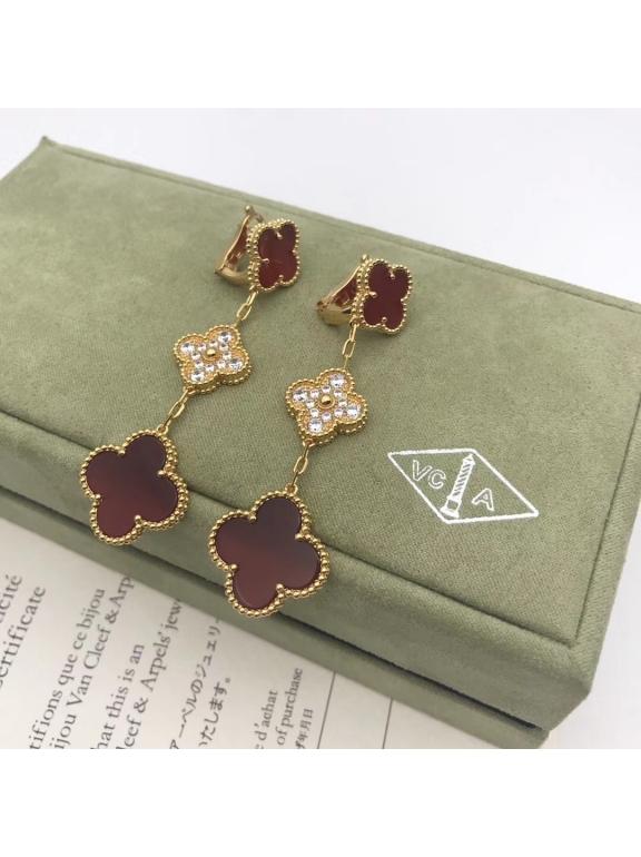 Красные Тройные Серьги Van Cleef & Arpels камни в золоте
