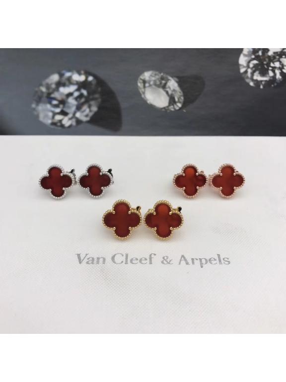 Средние Красные Серьги Van Cleef & Arpels в белом