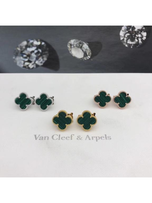 Средние Зеленые Серьги Van Cleef & Arpels в золоте