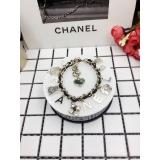 Браслет Черный Chanel Кожа Золотые Значки Камни