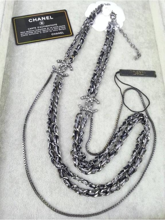 Черное Колье Chanel значок длинная цепь кожа