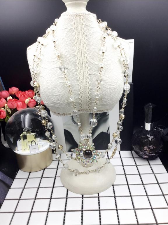 Колье Chanel Двойное Белые Прозрачные Жемчужинки Месяц Камни