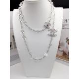 Колье Chanel Белые Прозрачные Жемчужинки Значки Камни