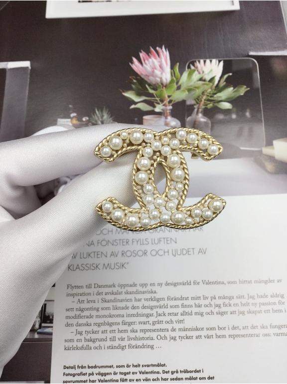 Золотой Значок Chanel жемчужинки
